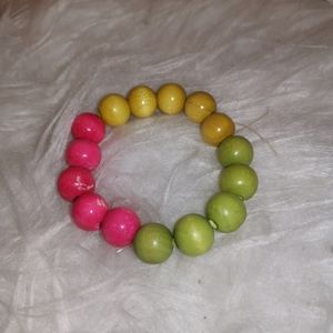 Multi-coloured chunky bead bracelet
